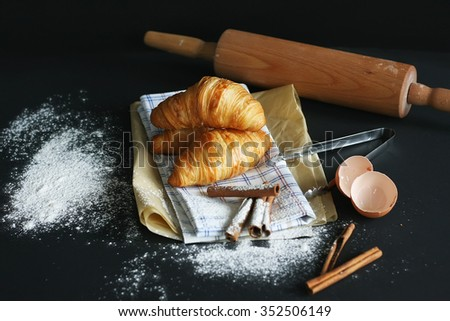 Kitchen with a set of tools for making croissants - stock photo