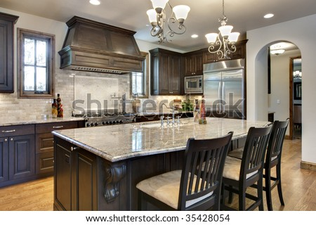 Kitchen with close up near center island - stock photo
