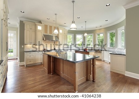 Kitchen with curved walls - stock photo