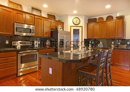 Kitchen Dark Golden Cherry Cabinets Matching Stock Photo