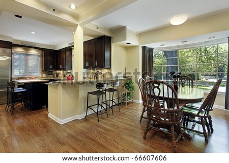 Kitchen with eating area and picture window - stock photo