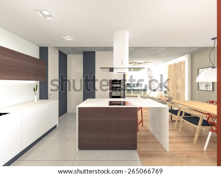 kitchen with island 3d rendering