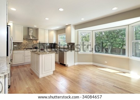 Kitchen with large picture window - stock photo