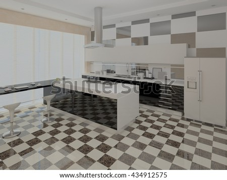 Kitchen with original design in a minimalist style, 3d rendering. - stock photo