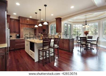 Kitchen with oval eating area