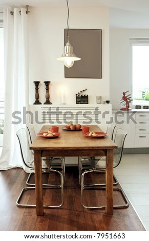 kitchen with place to eat - stock photo
