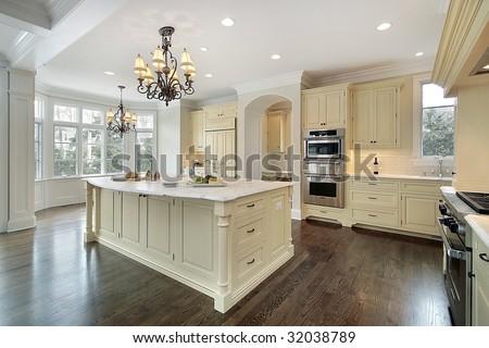 Kitchen with white island - stock photo