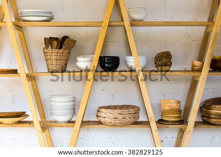 Kitchen wood shelf with Home Kitchen Wares - stock photo