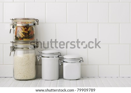 Kitchen worktop with container - stock photo