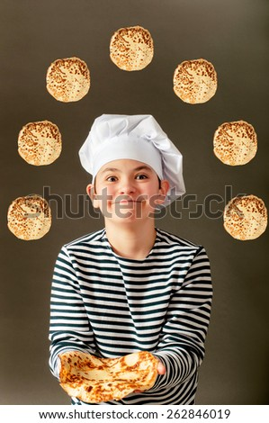 Kitchener with fly pancakes - stock photo
