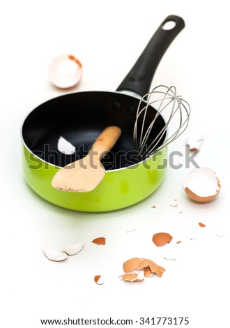 kitchenware and egg shell on isolate background - stock photo