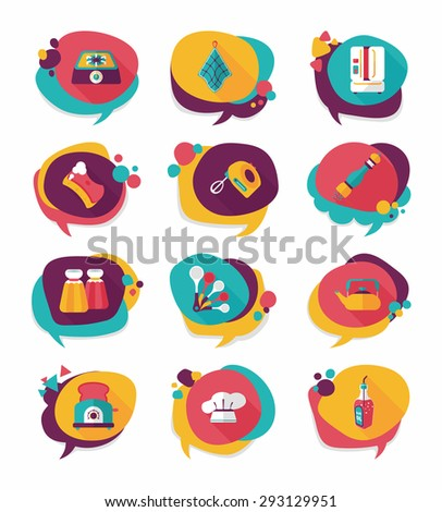 Kitchenware badge flat banner design background set,