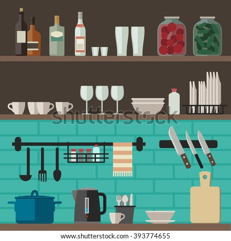 Kitchenware flat icons. Illustration of kitchen shelves with cooking utensils. Raster version.