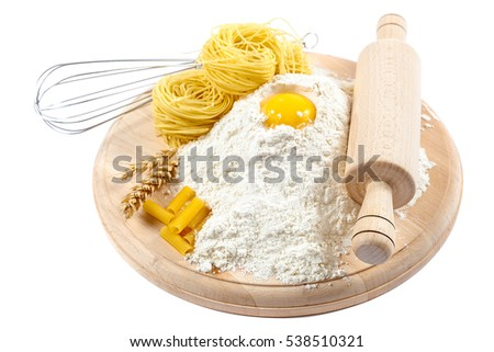 Kitchenware, flour and egg isolated on white background.