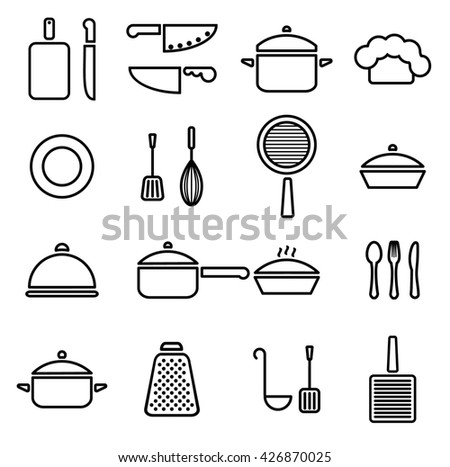 Kitchenware line icon set cookware trendy design