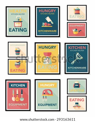 Kitchenware poster flat banner design flat background set,
