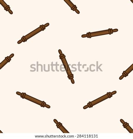 kitchenware rolling pin , cartoon seamless pattern background - stock photo
