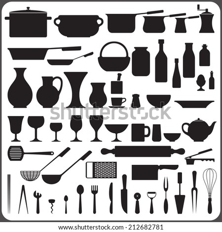 Kitchenware set of 57 object silhouettes raster version - stock photo