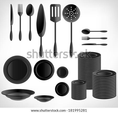 Kitchenware set, white ware - stock photo