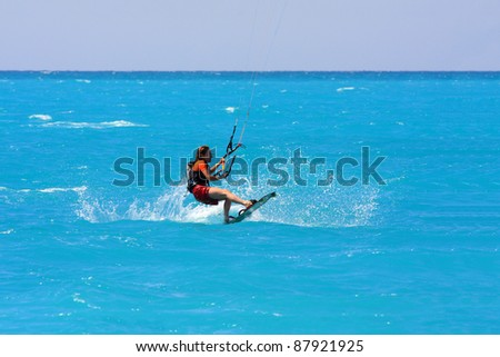 kite boarder on the Ionian island of Lefkas in Greece - stock photo