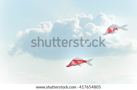 Kite Fish on blue sky