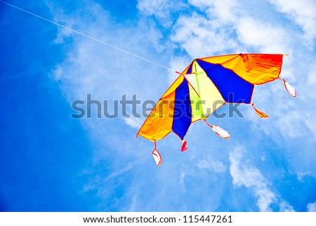 kite flying in the blue sky - stock photo