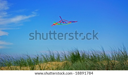 Kite flying in the dunes on the Great Ocean Road, Victoria,Australia - stock photo