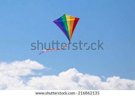 kite flying in the sky colors - stock photo