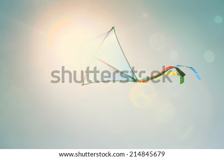 Kite flying in the sky. Instagram effect - stock photo