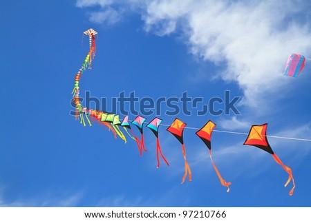 kite  on  blue sky - stock photo