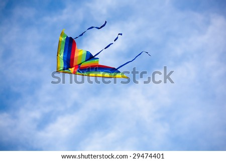 Kite on sky with clouds