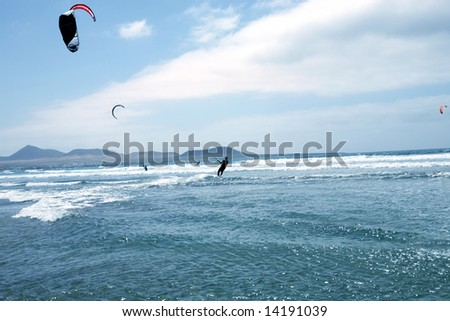 Kite-sailor in ocean