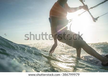 Kite surf freestyle ride his kite - stock photo