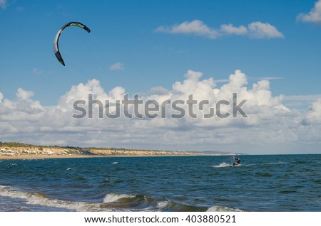 Kite surf on the beach of Mazagon , Huelva , Andalusia , Atlantic coast , Spain - stock photo