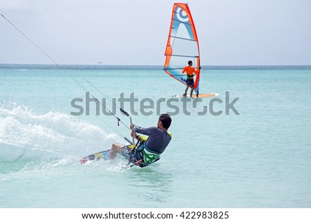 Kite surfer on Aruba island in the Caribbean