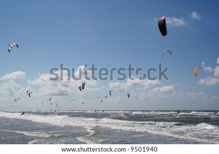 kite surfers in st. peter-ording