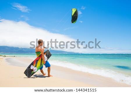 Kiteboarder on Beautiful Beach - stock photo