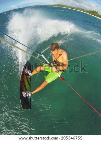 Kiteboarding, Fun in the Ocean, Extreme Sport.  - stock photo