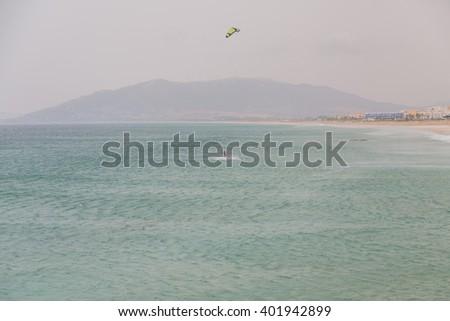 Kiteboarding on the Atlantic Ocean, Tarifa, Spain - stock photo