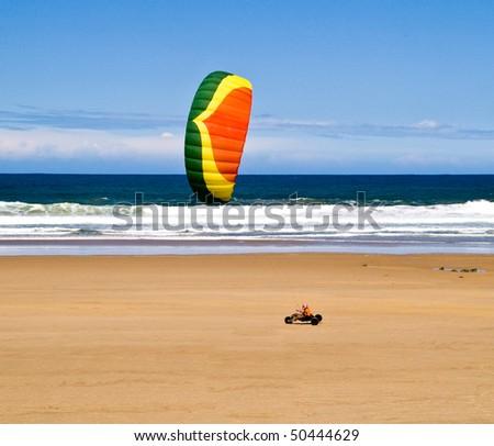 kitebuggy on the beach - stock photo