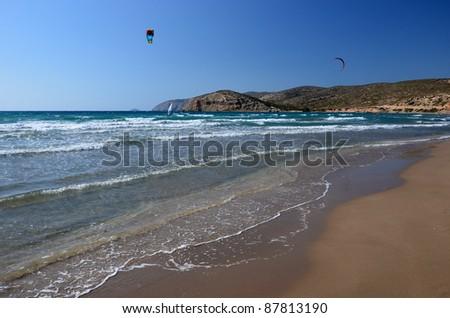 Kites flying on Prasonisi beach, Rhodes island - stock photo