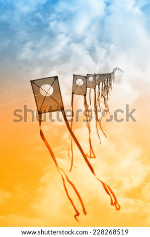 kites in the sky at sunset - stock photo
