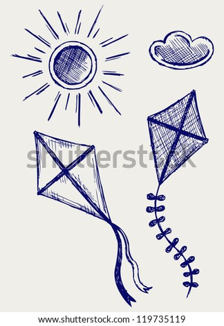 Kites in the sky. Doodle style. Raster version - stock photo