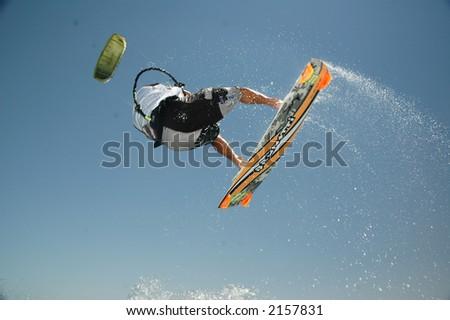 Kitesurfer in action - stock photo