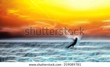 Kitesurfer in the sea at sunset, large abstract painting watercolors