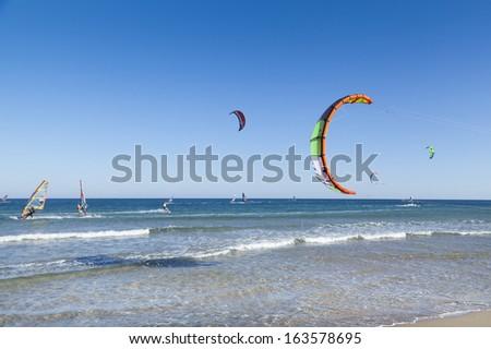 kitesurfers paradies in Rhodes - stock photo