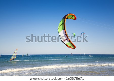 kitesurfing background - stock photo