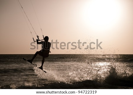 Kitesurfing in Andalusia, Spain. - stock photo