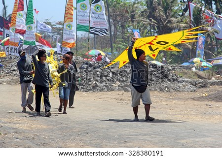 Kiting competitions in Ginyar, Bali, Indonesia. 18/09/2015 - stock photo