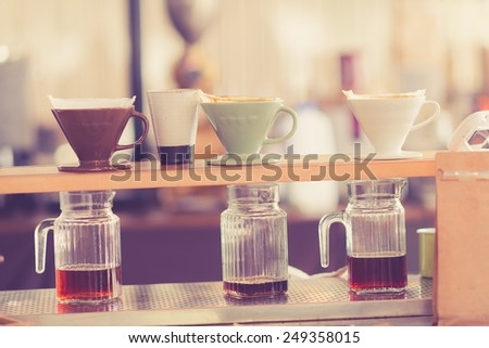 Kits for making fresh coffee in vintage tone - stock photo